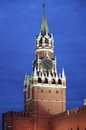 Spasskaya tower by night in the moscow kremlin Royalty Free Stock Photo