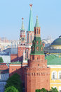 Spasskaya tower nikolskaya tower corner arsenal tower of kremlin in moscow russia Royalty Free Stock Photos