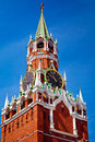 The spasskaya tower on red square in moscow russia is main with a through passage eastern wall of kremlin situated Stock Photos