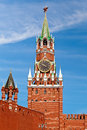 The spasskaya tower on red square in moscow russia translated as savior is main with a through passage eastern wall of kremlin Stock Images