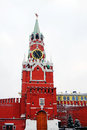 Spasskaya tower saviors tower in winter red square unesco world heritage site Royalty Free Stock Images