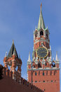 Spassky tower of moscow kremlin russia Stock Image