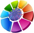 Spatial circle graph with arrows colorful above Royalty Free Stock Images