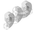 Spatial paradox, Esher`s infinite staircase principle. Isometric arched shapes.