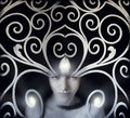 Spatial portrait beautiful fantasy and artistic princess Royalty Free Stock Images