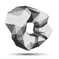 Spatial vector monochrome object isolated d technology figure with geometric gray lines Stock Photo