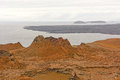 Spatter cone on a volcanic island bartolome in the galapagos Stock Photos