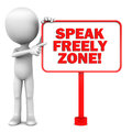 Speak freely zone words sign board little d man pointing white background Royalty Free Stock Images