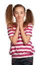 Speak no evil portrait of girl isolated on white background Royalty Free Stock Images