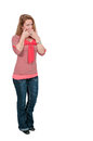 Speak no evil woman doing the tradition gesture Stock Image
