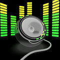 Speaker and graphic equalizer shows pop music or audio showing Stock Image
