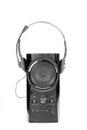 Speaker and headphones beautiful shot of on white background Stock Image