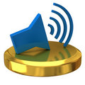 Speaker icon  on gold podium Royalty Free Stock Image