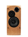 Speaker isolated on white background audio speakers in a wooden case Stock Images