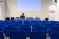Speaker at made expo in milan italy october prepares his lecture before people arrive international architecture and building Royalty Free Stock Photos