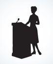 Speaker at podium. Vector drawing