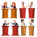 Speaker Set Vector. Man, Woman Giving Public Speech. Businessman, Politician. Debates. Presentation. Isolated Flat Royalty Free Stock Photo