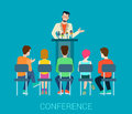 Speaker on tribune and people listening - conference vector flat Royalty Free Stock Photo