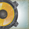 Speaker yellow over vintage background vector illustration Royalty Free Stock Images