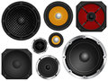 Speakers audio in different sizes and colors vector illustration Royalty Free Stock Images