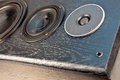 Speakers black wooden on by photo Royalty Free Stock Photography