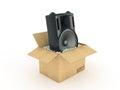 Speakers in cardboard box Royalty Free Stock Photo