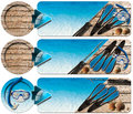 Spearfishing three banners n set of with blue water wooden floor with sand seashells flippers snorkel and mask for diving and Stock Image