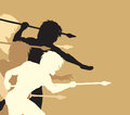 Spearmen editable vector silhouettes of cavemen holding spears threateningly Stock Photos