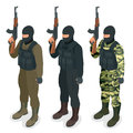 Spec ops police officers SWAT in black uniform Soldier, officer, sniper, special operation unit, SWAT flat 3d isometric