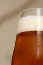 Special beer closeup of a glass of somewhat darker with foam head Stock Image