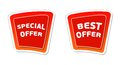 Special and best offer in red banners with white text business concept Stock Photos