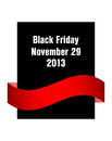 Special black friday flyer with red ribbon Stock Photography