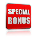 Special bonus in red banner Stock Photography