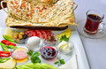 Special breakfast breakfast menu culture and enjoy reading plate table healthy for Royalty Free Stock Images