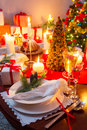 Special christmas setting table closeup of Stock Photography