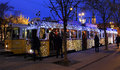 Special christmas tram with festive lights budapest hungary december in budapest on december in budapest hungary Stock Photo