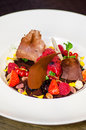 Special dessert with chocolate and fresh fruits Stock Photography
