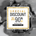 Special Discount Square Golden Banner Template with Black Marble Texture on White Background. Vector Illustration Gold