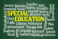 Special education word cloud on green background Stock Photos