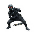 Special force soldier posing funny in isolation background wearing gask mask Stock Images