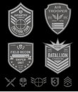 Special forces patch set original military inspired emblem with coordinating icon elements available in eps vector for easy Stock Images