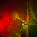 Special forces soldier with gas mask during night mission anti terrorist unit policeman the operation red and green light Stock Photo