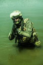 Special forces in the water jagdkommando austrian equipped with assault rifle Stock Photography