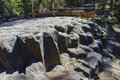 Special geology in devils postpile national monument of basalt near mammoth lakes Stock Images