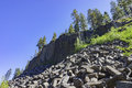 Special geology in devils postpile national monument of basalt near mammoth lakes Stock Photography