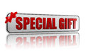 Special gift banner with ribbon Royalty Free Stock Photo