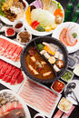 A special hot pot in Chinese style with beef, pork, seafood, mus Royalty Free Stock Photo
