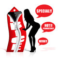 Special hot promotion illustration with sexy girl silhouette Royalty Free Stock Image