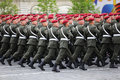 Special mission soldiers in maroon berets march Stock Images