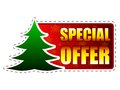 Special offer and christmas tree on red banner with snowflakes text sign business holiday concept Stock Image
